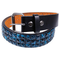 Blue Splatter Black Studded Leather Belt
