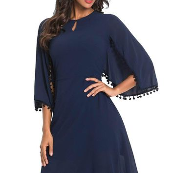 Navy Pompom Trim Bell Sleeve Chiffon Skater Dress