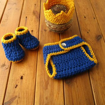 Royal Prince Baby Outfit Royal Blue Gold Newborn Photo Prop