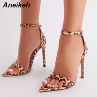 Aneikeh Sexy Women Sandals Leopard Summer Shoes Thin High Heels Peep Pointed Toes Woman Wedding Shoes Ankle Strap Shoe Sandalias