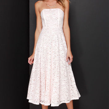 Delve into Decadence Blush Pink Strapless Lace Midi Dress