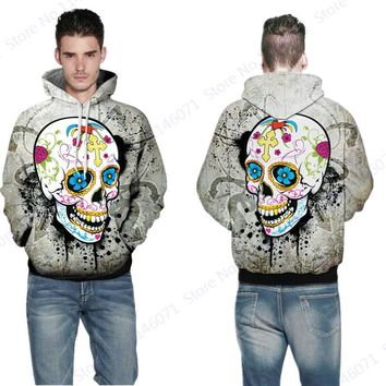 Funny Sugar Skull Jumper Pullover Day of The Dead Skateboarding Hoodies White Active Long Sleeves Hoody Tracksuit Men's Jackets