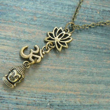 spiritual pendant necklace lotus flower necklace buddah necklace ohm necklace in yoga new age meditation zen hipster boho gypsy hippie style