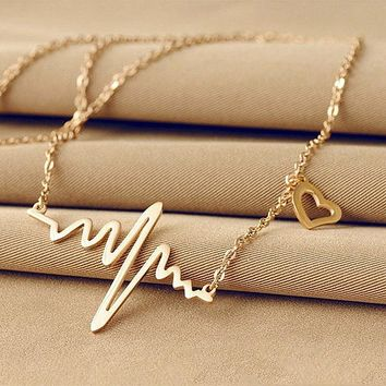 Heartbeat monitor EKG necklace