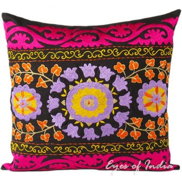 "16"" Black Suzani Embroidered Pillow Cushion Cover Colorful Decorative Toss Throw"