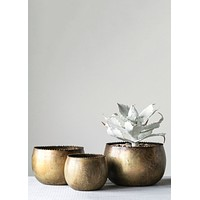 Antique Gold Round Metal Planters - Set of 3