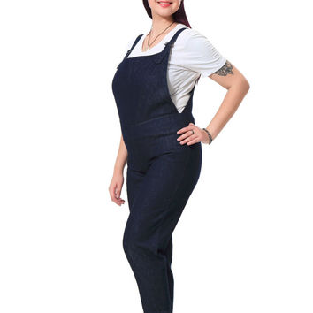 Plus Size Denim jumpsuits Women With Metal Buttons Casual Loose Overalls Big Size Blue Vintage Jeans   3XL-7XL  051