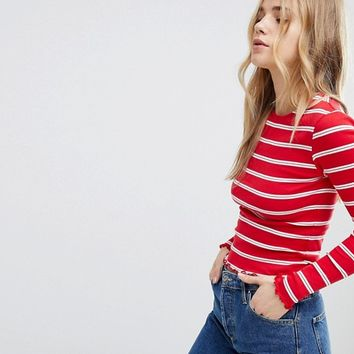 New Look Stripe Long Sleeve Top at asos.com
