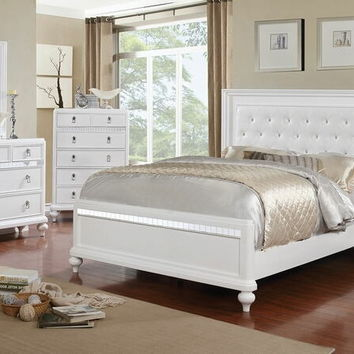 5 pc Avior collection white finish wood padded and tufted headboard queen bedroom set