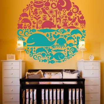 $52.95 Vinyl Wall Decal Sticker Art  Land and Sea by wordybirdstudios