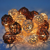 BROWN WHITE EARTH TONE RATTAN BALL STRING HOME,LIVING ROOM,DECOR,WEDDING LIGHTS