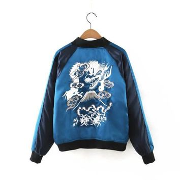 Gradient Blue Bomber Jacket Women 2017 Spring Jacket For Woman Femme Veste Dragon Embroidery Women Bomber Harajuku Coats Female