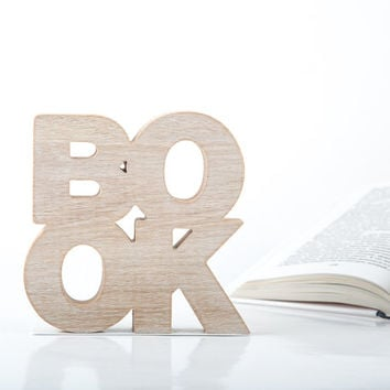 A pair of bookends BookOne Wooden edition rustic modern stylish