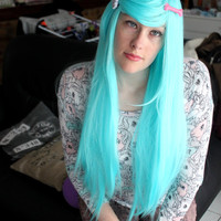 sky Blue Scene - Long Straight Wig - High quality - Kanekalon Synthetic fibers - Natural Effect