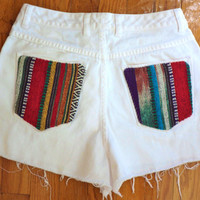 High Waisted White Denim Cut Offs 29 // Ethnic Mexican Blanket // Upcycled Jean Shorts Size 6