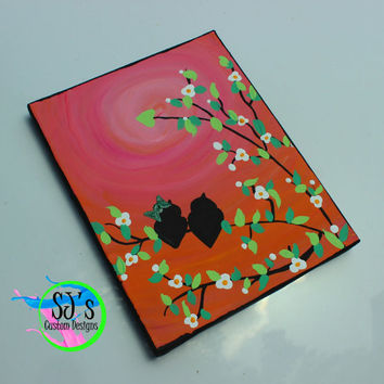 Love bird silhouette painting, Love bird decoration, Love Bird in a tree painting, Wedding gift , Bridal shower gift, Nursery decoration