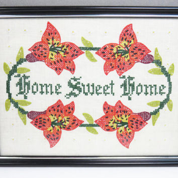 Vintage embroidered floral Home sweet home sign wall hanging framed art - Cross stitched home sweet home sign