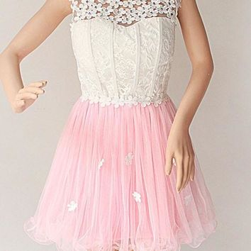 Pink Patchwork Hollow-out Lace Grenadine Appliques Round Neck Mini Dress