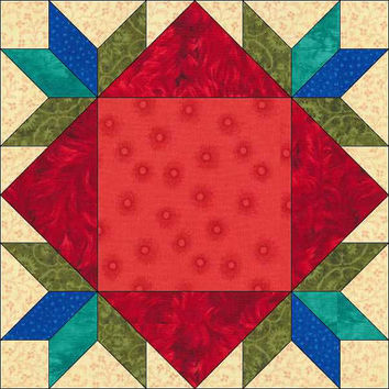 Flowers in the Window Block  - 6 x 6 Inch - Geometric Pattern - Instant Download - Paper Pieced Pattern - Pattern - Quilt Pattern