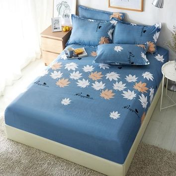 1pcs Polyester White Yellow Leaves Printed Bed Sheet Bedding Fitted Sheets Mattress Cover Bedspreads With Elastic Band Bedsheet