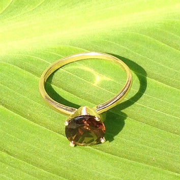 Smoky Quartz Gold Ring, 14k Yellow Gold Ring, Engagement Ring, Wedding Ring, Bridesmaid's Gifts, Promise Ring