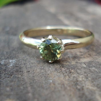 Australian lime green sapphire ring, alternative engagement ring, natural conflict free gem, eco-friendly recycled gold, size 5 6 7 8 9 10