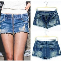 New Arrival Low Waist Distressed Zipper Denim Jeans Pants Skirt, Hot Pants, Summer Pants, Mini Skirts, AD9499SK (Size: M) = 5738975681