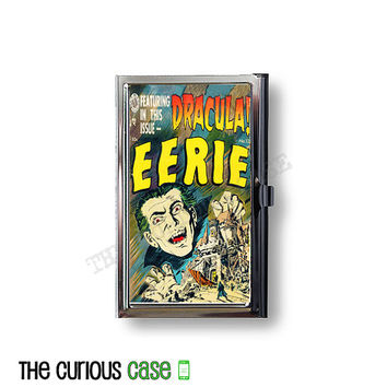 Business Card Case Metal Case Fits Business, Credit, Debit and Gift Cards Dracula Vintage Comic Book Cover Vampire