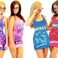 Nerds Candy Juniors Tunic Tank Dress with Nerd Glasses (Juniors Small, Blue: Blue Raspberry)