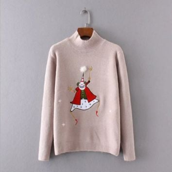 snowman  embroidery Causal sweater B0016423