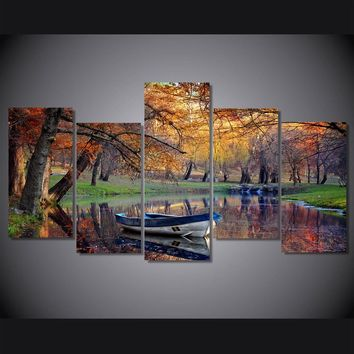 Autumn Fall Park Boat on water Fall landscape wall art on canvas