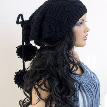 Black Knitting Hat or cowl,scarf-Pon pon hat