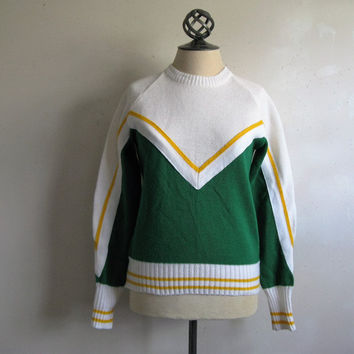 Vintage 1960s Varsity Sweater White Green Yellow Stripe Crew Neck Acrylic 60s Cheerleader Pullover Small-Medium