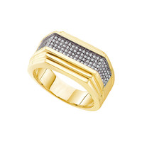 Diamond Micro Pave Mens Ring in 10k Gold 0.33 ctw