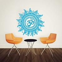 Wall Decal Vinyl Sticker Decals Art Home Decor Murals Decal Mandala Ornament Indian Geometric Moroccan Pattern Yoga Namaste Flower Lotus Flower Buddha Om Ganesh Bathroom Bedroom Dorm Decals AN162