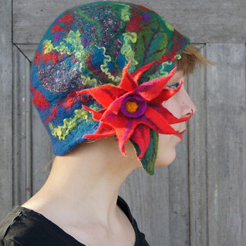 Unique felted cloche hat, retro style hat, green and blue with red flower and green leaves. OOAK