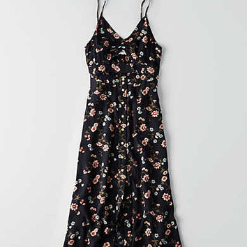 AEO Cutout Front Midi Dress, Black