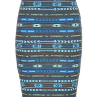 Ethnic Print Midi Pencil Skirt - Charcoal Combo