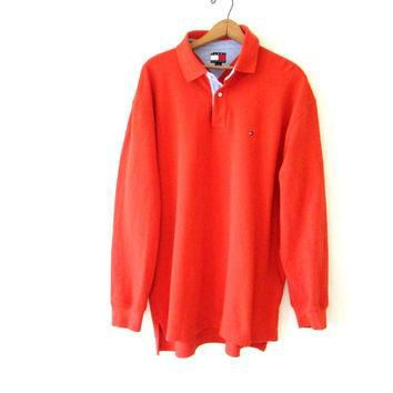 Vintage 1990s Tommy Hilfiger Orange Long Sleeve Polo Shirt Sz XL
