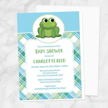 Plaid Frog Baby Shower Invitations - Cute with Green and Blue Plaid Pattern - Girl or Boy Baby Shower - Printed Frog Invitations