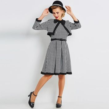 Women's 1950's Black Plaids Single Breasted Long Sleeve Vintage Dress