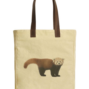 Young Red Panda Beige Printed Canvas Tote Bags Leather Handles WAS_30