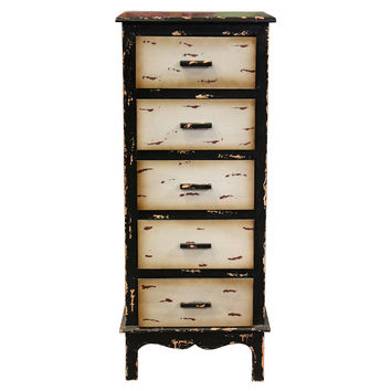 Interestingly Designed Vintage Themed 5 Drawers Storage Chest