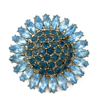 Blue Rhinestone Sunflower Brooch, Soft Blue Marquise, Sapphire Blue Chatons, Gold Tone Metal, Slightly Domed, Vintage Jewelry, Statement Pin