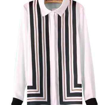 White Long Sleeve Chiffon Blouse with Black&Brown Geometric Stripes