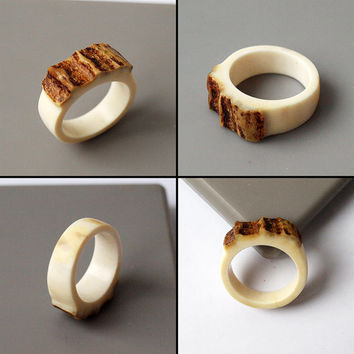 Antler ring, Size 9 US, Antler rings, Antler jewelry, Elk antler, Moose antler, Women ring, Bone ring, Bone jewelry, Antler signet ring