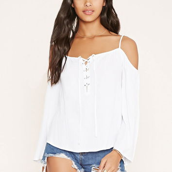 Lace-Up Open-Shoulder Top