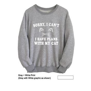 Funny Cat Sweatshirt for Women Men Unisex Outfits for Teen Girl College T Shirt Long Sleeve Shirt Grey Jumper Fangirl Fashion Sweatshirt