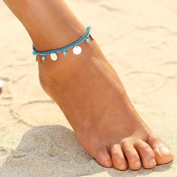 Reflective Coin Charm Anklet (in Gold & Silver)