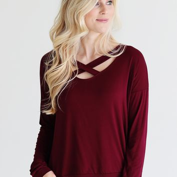 Burgundy DLMN Long Sleeve Criss Cross Top